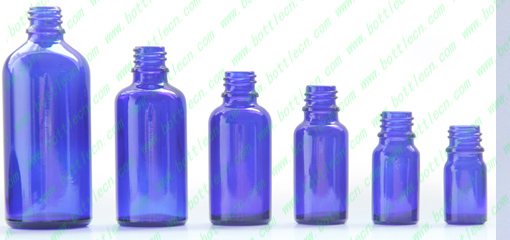 Blue Cobalt Glass Boston Round Bottles and wide mouth bottle