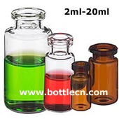 5 - 2.5 - 1.4 - 0.8 - 0.5 dram clear borosilicate glass serum vials 2ml 3ml 10ml 20ml