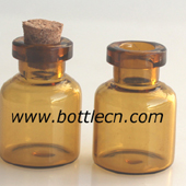 3ml glass amber bottle with cork stopper lids